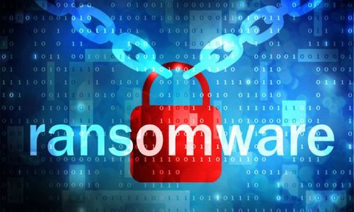 A graphic depicting a lock and the word Ransomware